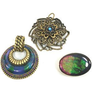 3 Chico's Antique Gold & Silver Tone Pendants